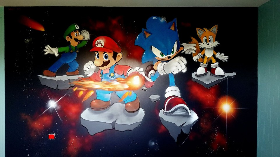 graff chambre enfant Mario Sonic