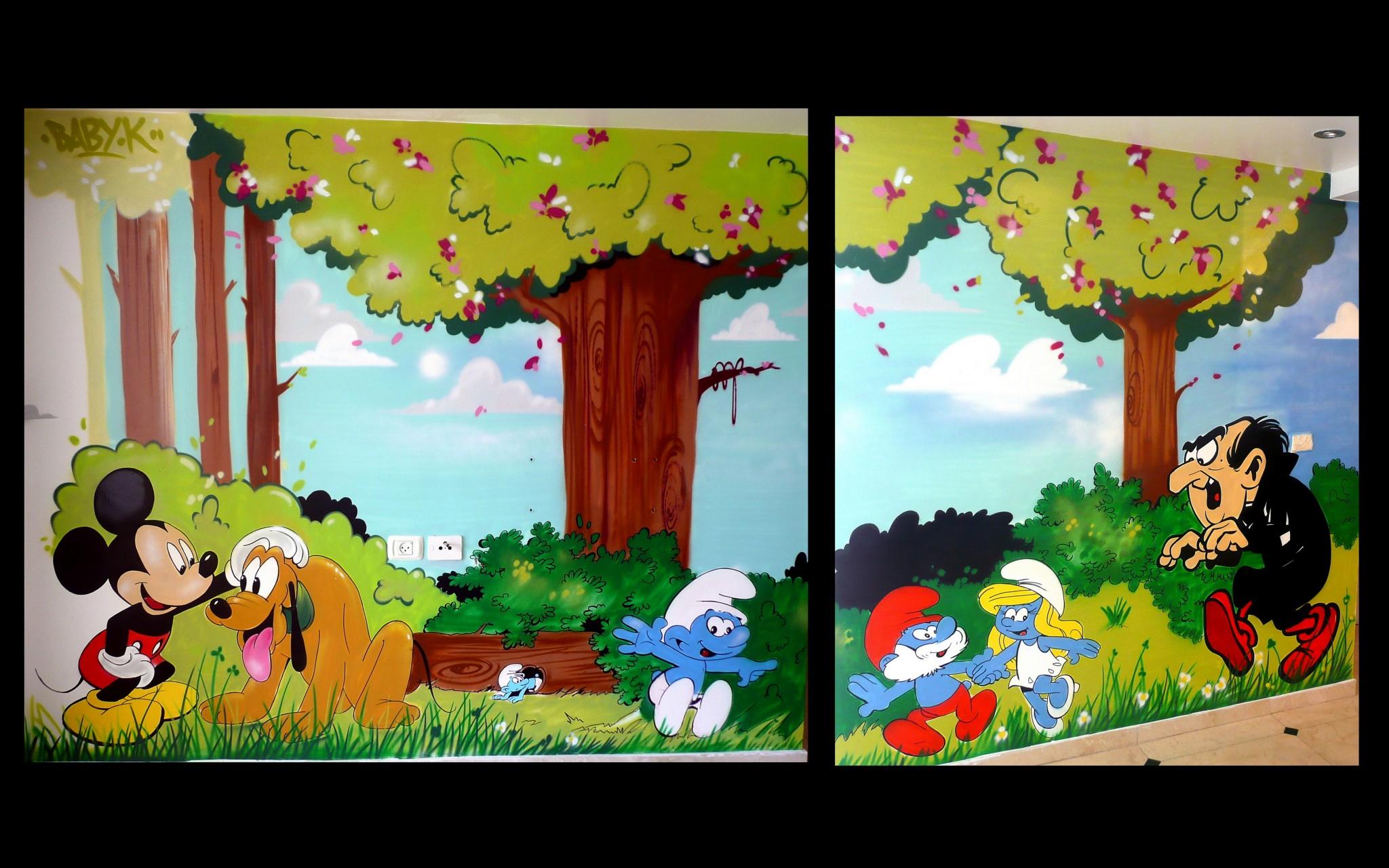 Décoration graff chambre enfant thème schtroumpf