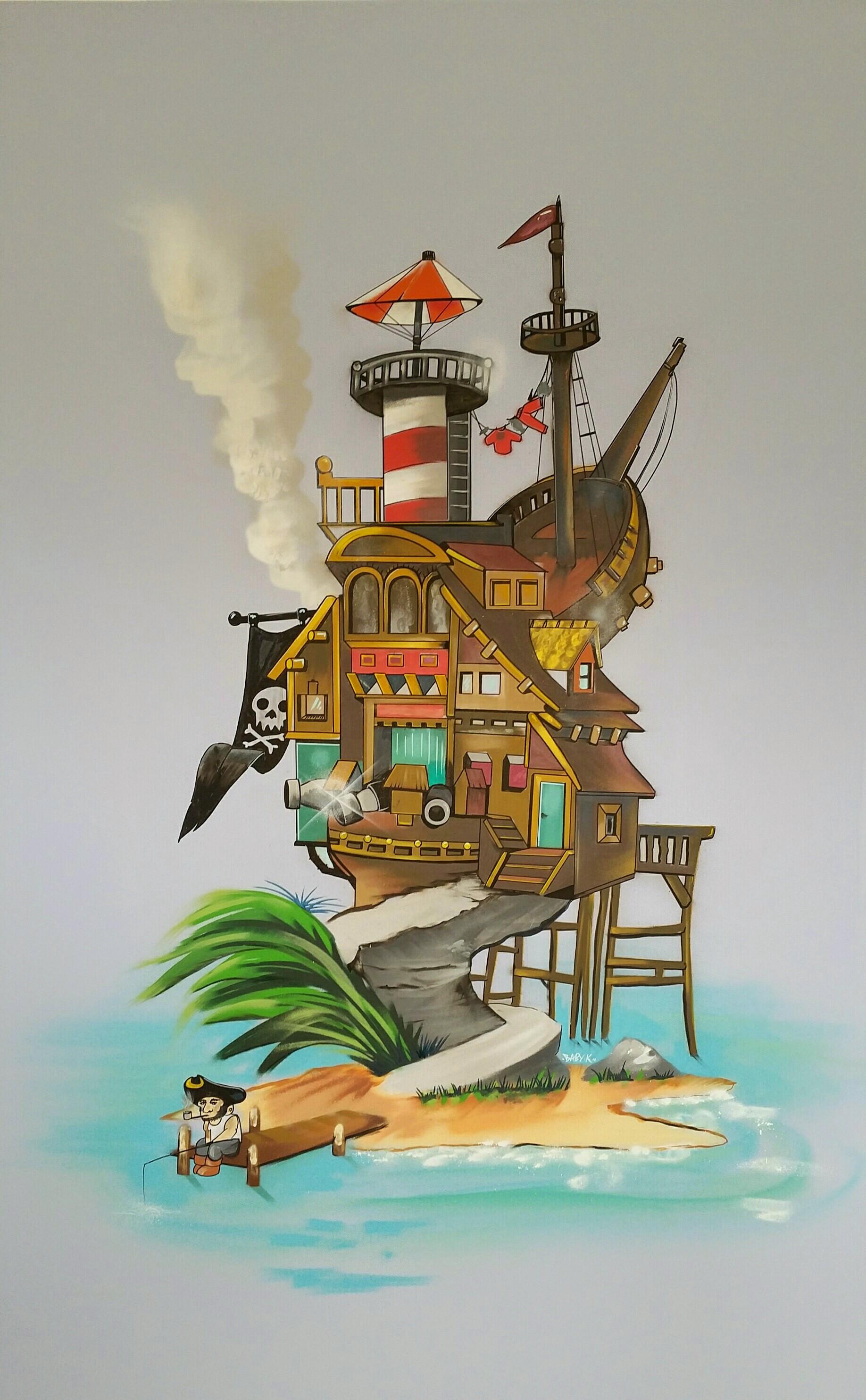Graff thème pirates chambre d'enfant