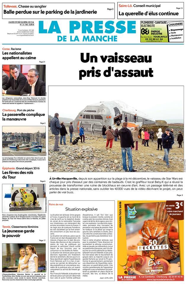 Presse – 1ère page -28 dec.2015
