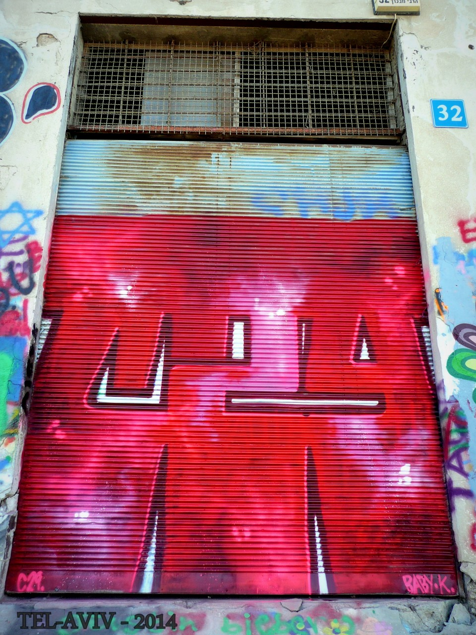 Street art - rideaux de fer, C29.Tel-aviv 2014