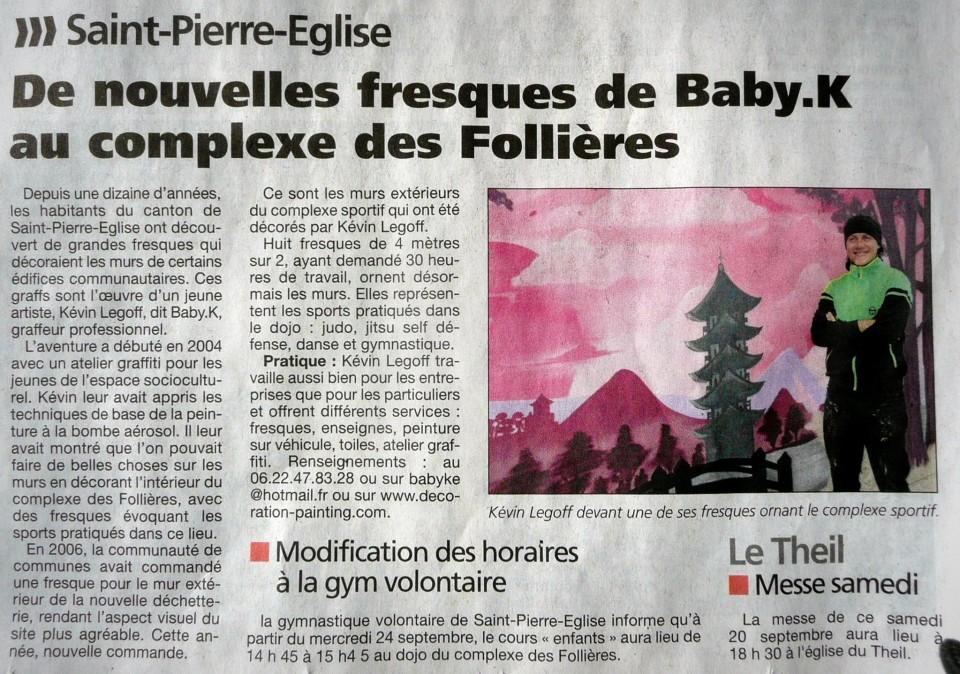 graff article presse de la manche gymnase Saint -Pierre Eglise 2014
