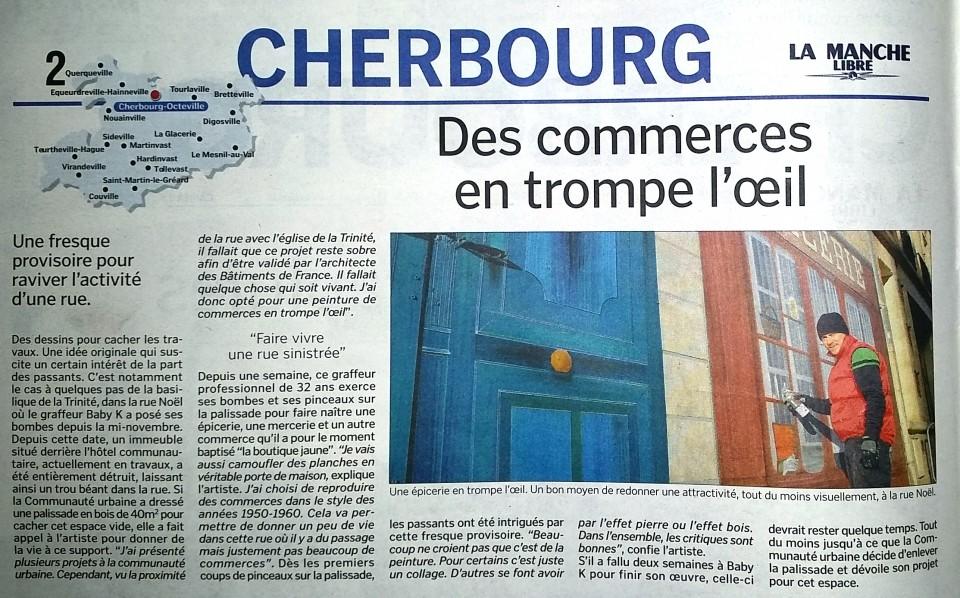 La Manche libre.déc.2014 – trompe l'œil rue Noel à Cherbourg